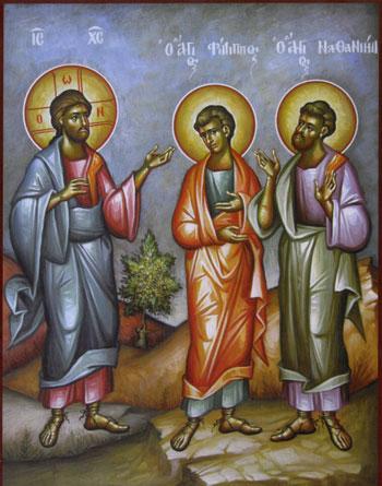 Jesus calls Philip and Nathanael