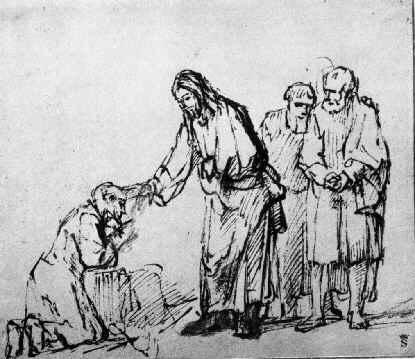 Leper Healed by Rembrandt